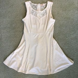 Altar'd State Cream Lace Polka Dot Mini Dress